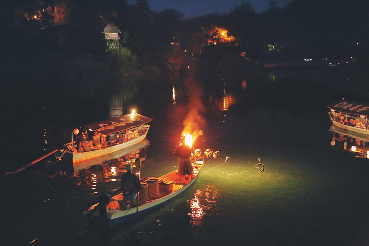 川舟で夕食「大洲のうかい」